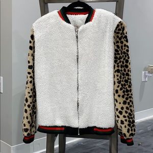 FUZZY ZIP UP CHEETAH PRINT WOMENS JACKET